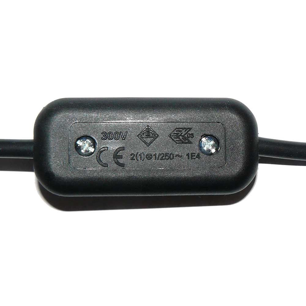 Black 2 Amp In Line Switch For 2 or 3 Core Cable